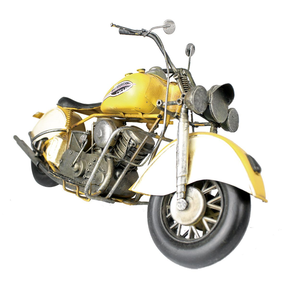 Moto Vintage decorativa de Metal Motor Cycle Yellow 1216