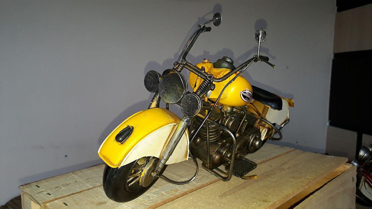 Moto Vintage decorativa de Metal Motor Cycle Yellow 1216