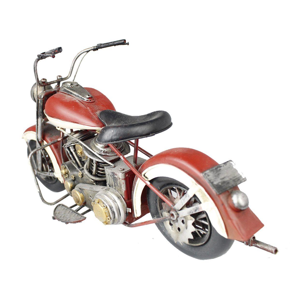 Moto Vintage decorativa de Metal Red & White 1208