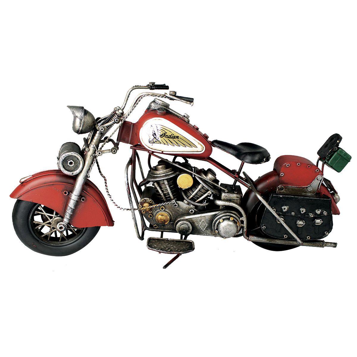 Moto Vintage decorativa de Metal Red Indian 43 cm 1:18