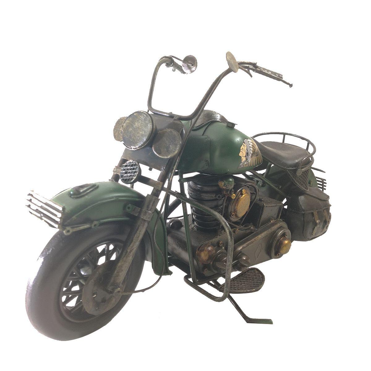 Moto Vintage decorativa de Metal Verde Indian 1208