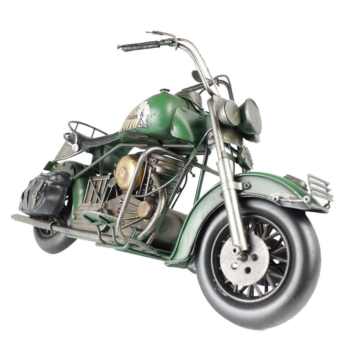 Moto Vintage decorativa de Metal Verde Indian 1208
