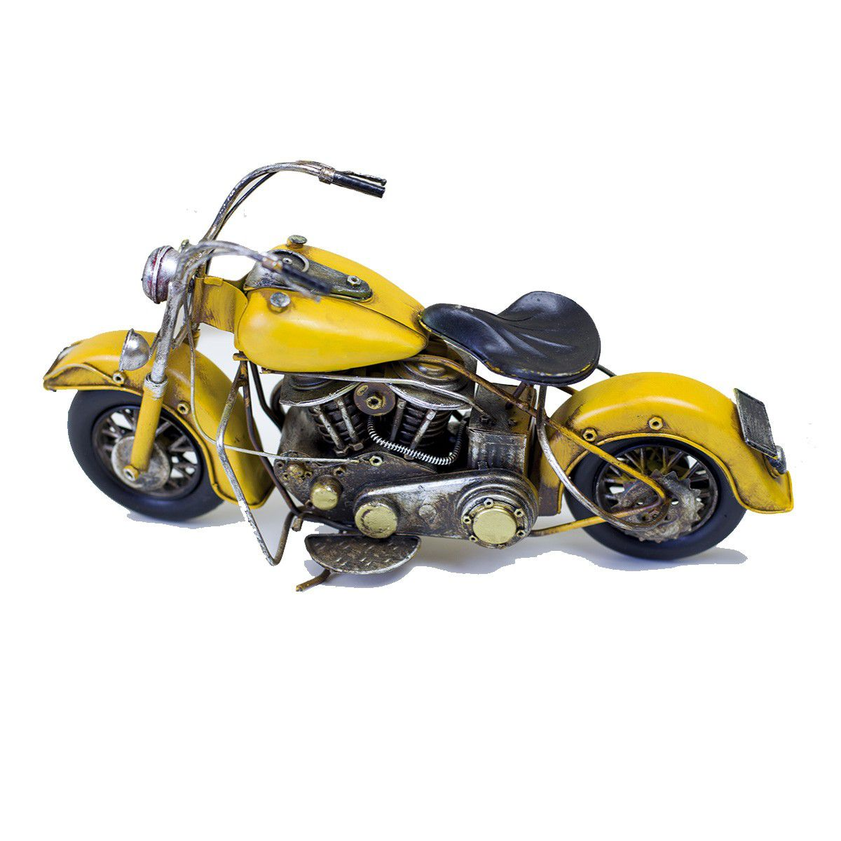 Moto Vintage decorativa de Metal Yellow