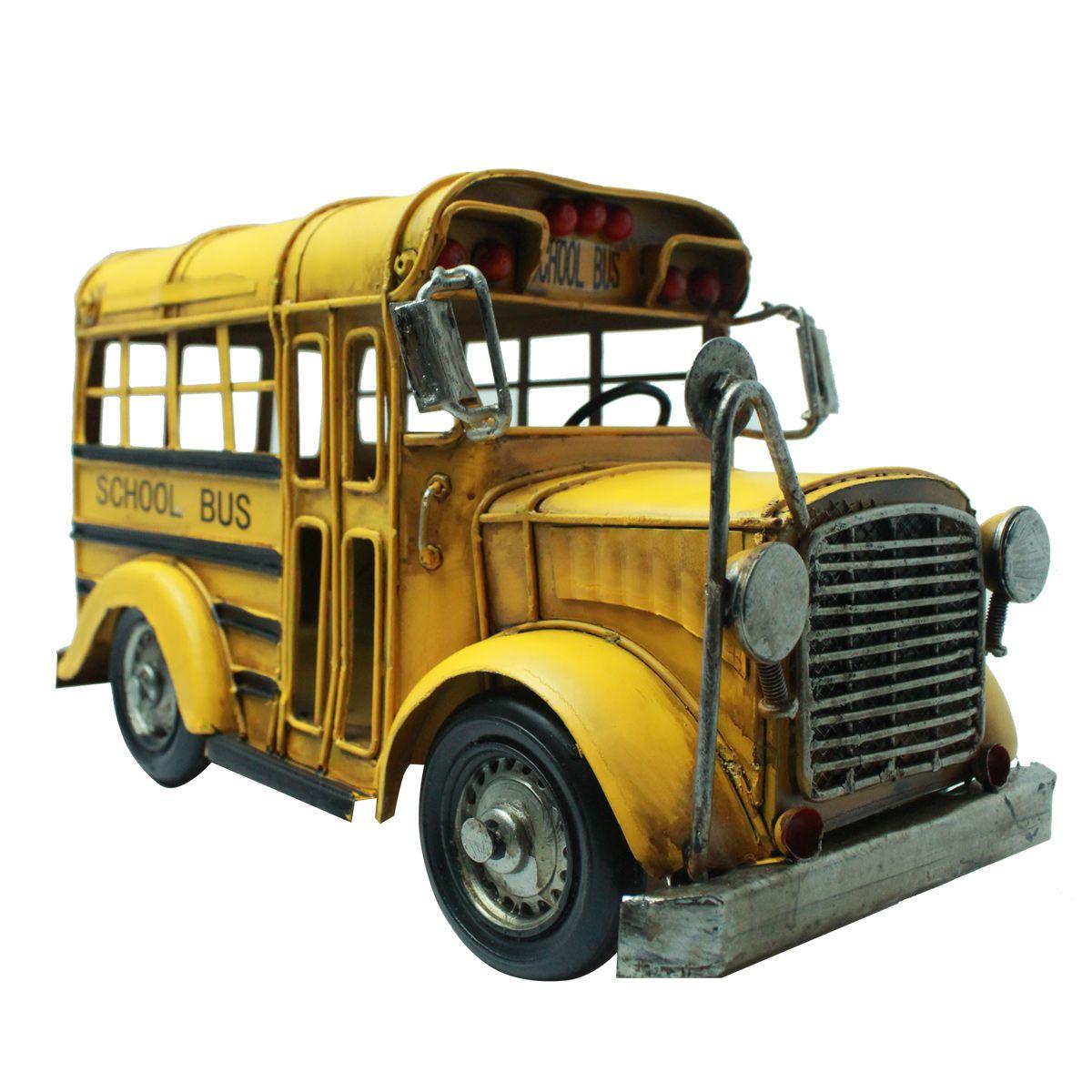Ônibus Escolar Vintage Miniatura de Metal School Bus Retro