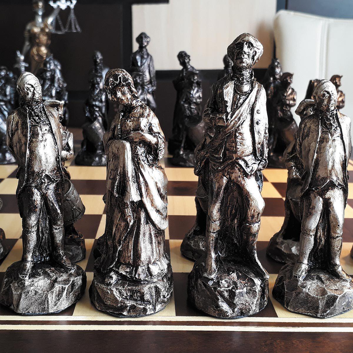 Peças xadrez Luxo Guerra da Ind. Americana 32 Peças