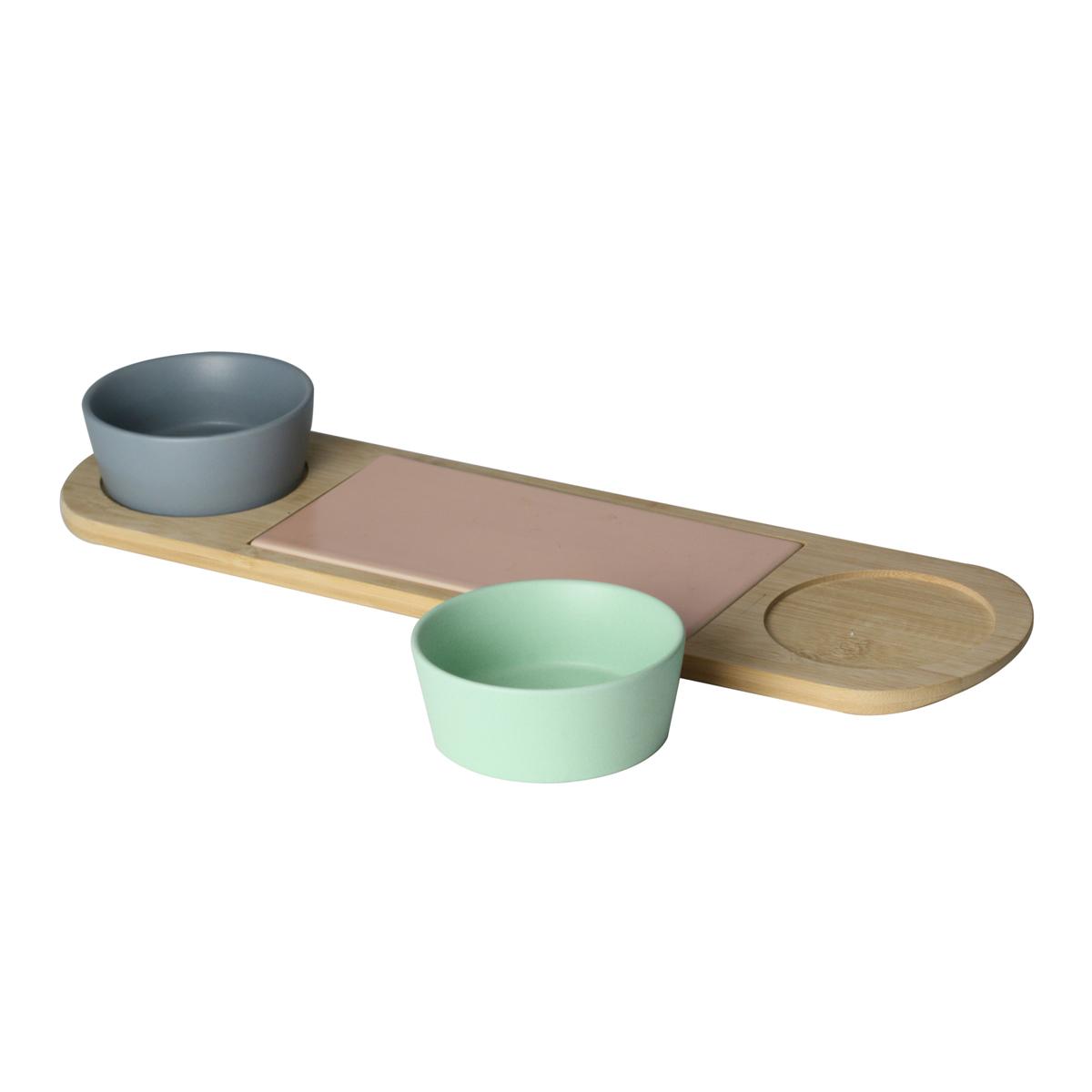 Petisqueira De Bambu C/ 2 Potes E 1 Bandeja De Cerâmica Lyor