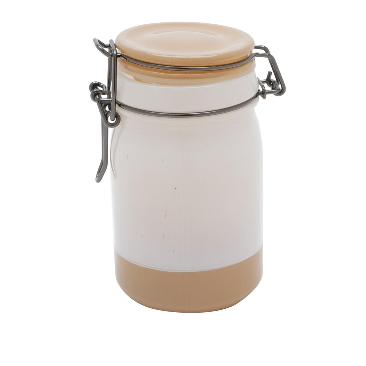 Pote De Vidro Pequeno Solid Dual Colors Branco E Caramelo Urban