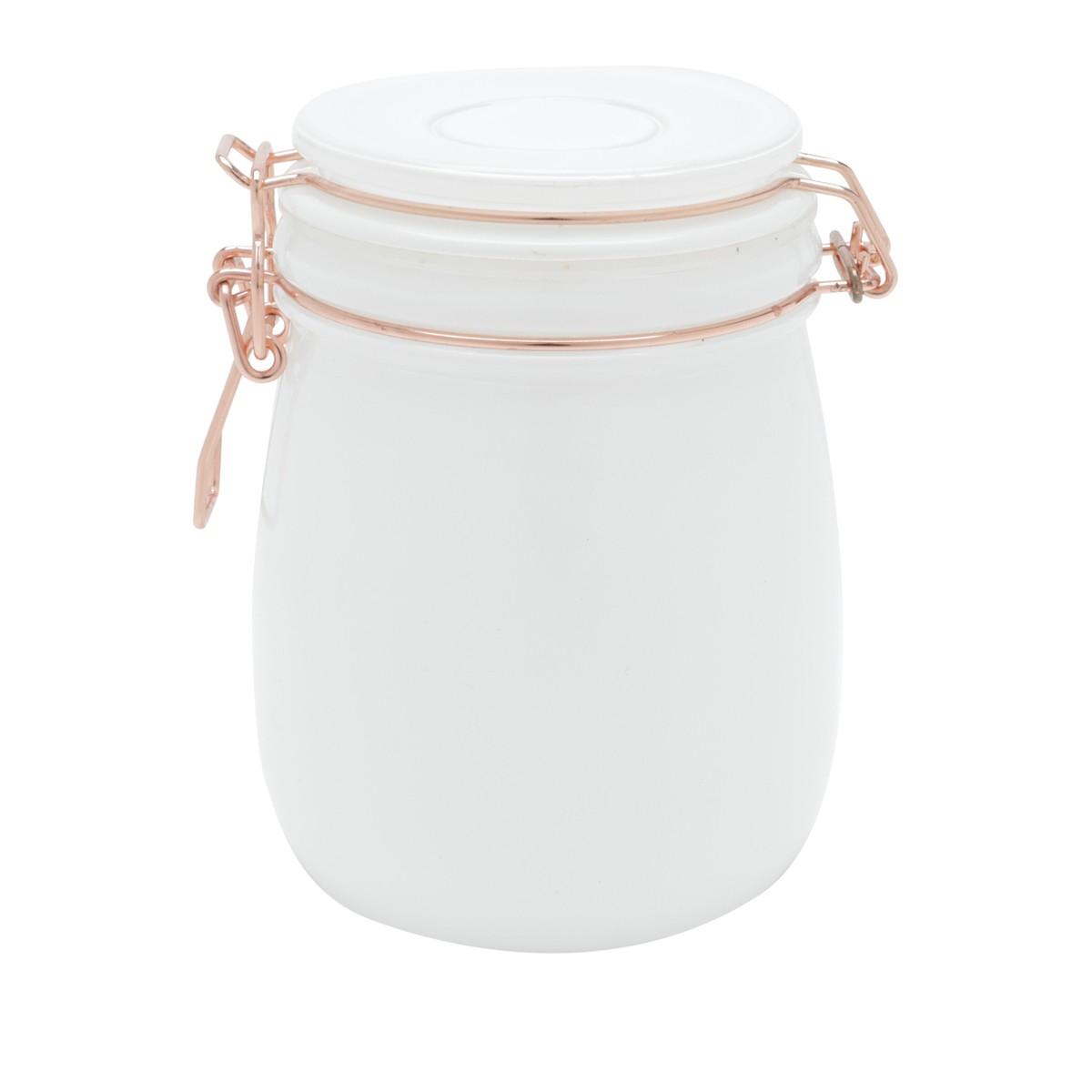 Pote De Vidro Solid Color Cooper Clip Branco E Rose Gold Urban