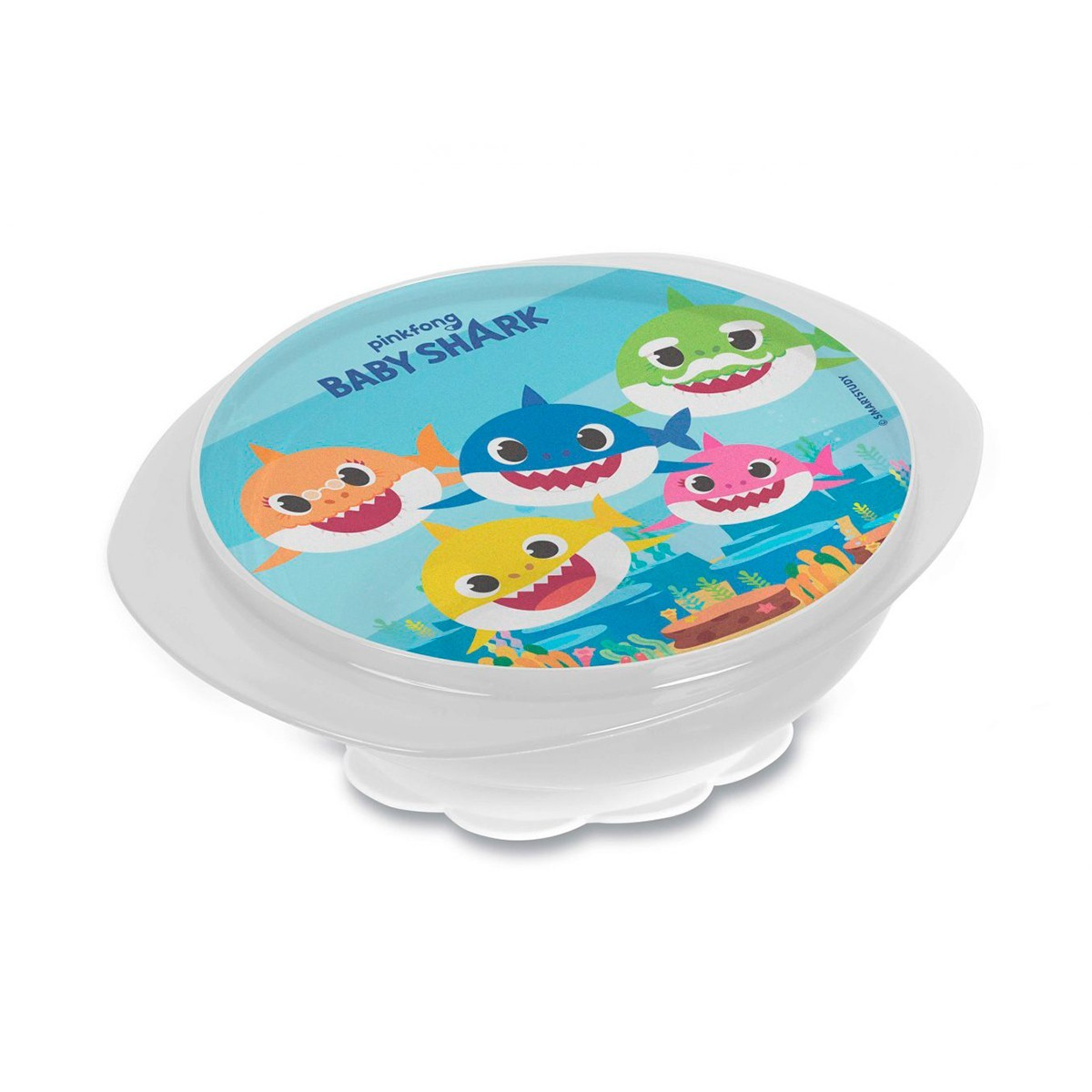 Prato C/ Ventosa + Tampa Decorada Baby Shark BabyGo Premium
