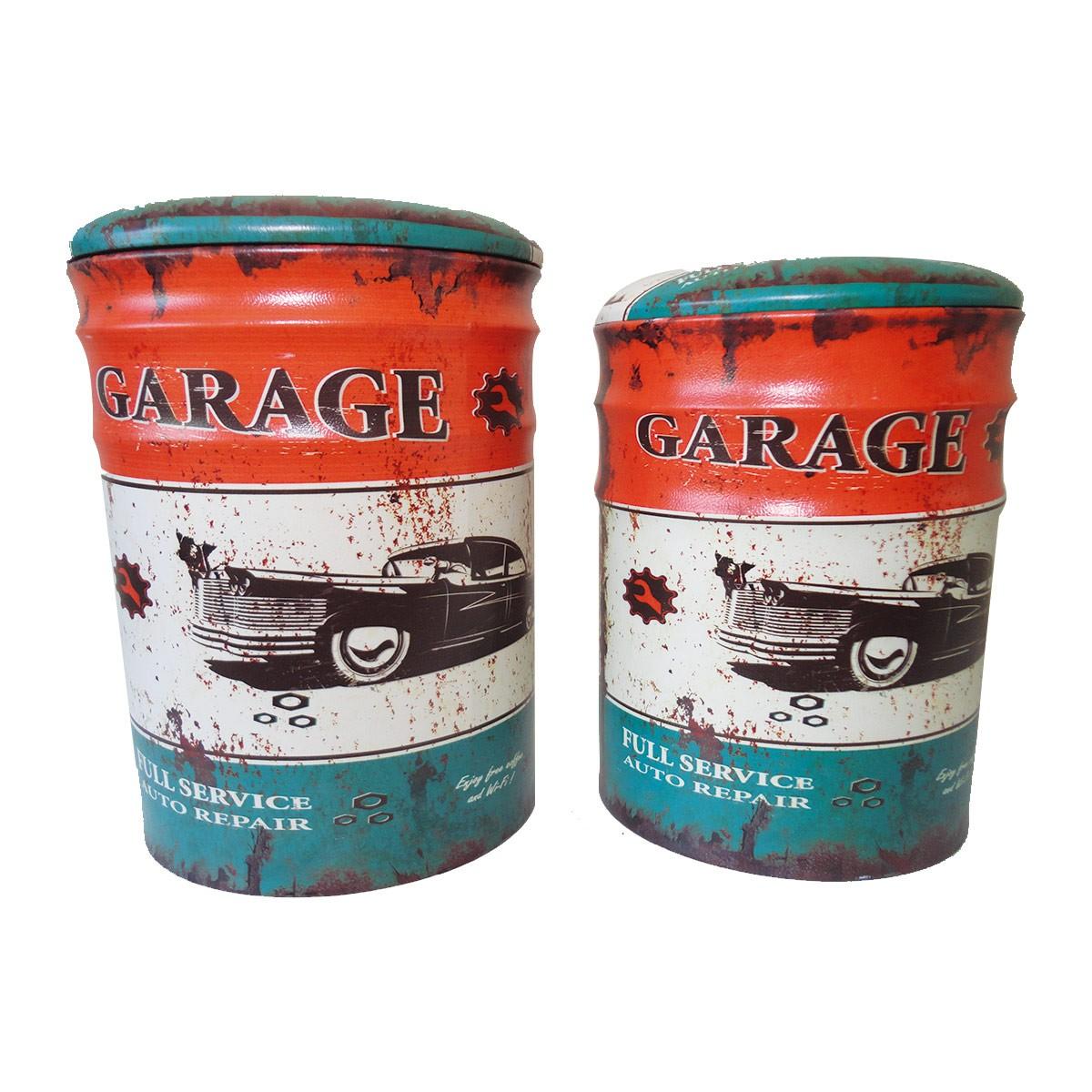 Conjunto Puff Baú Mod. Garage Auto Repair