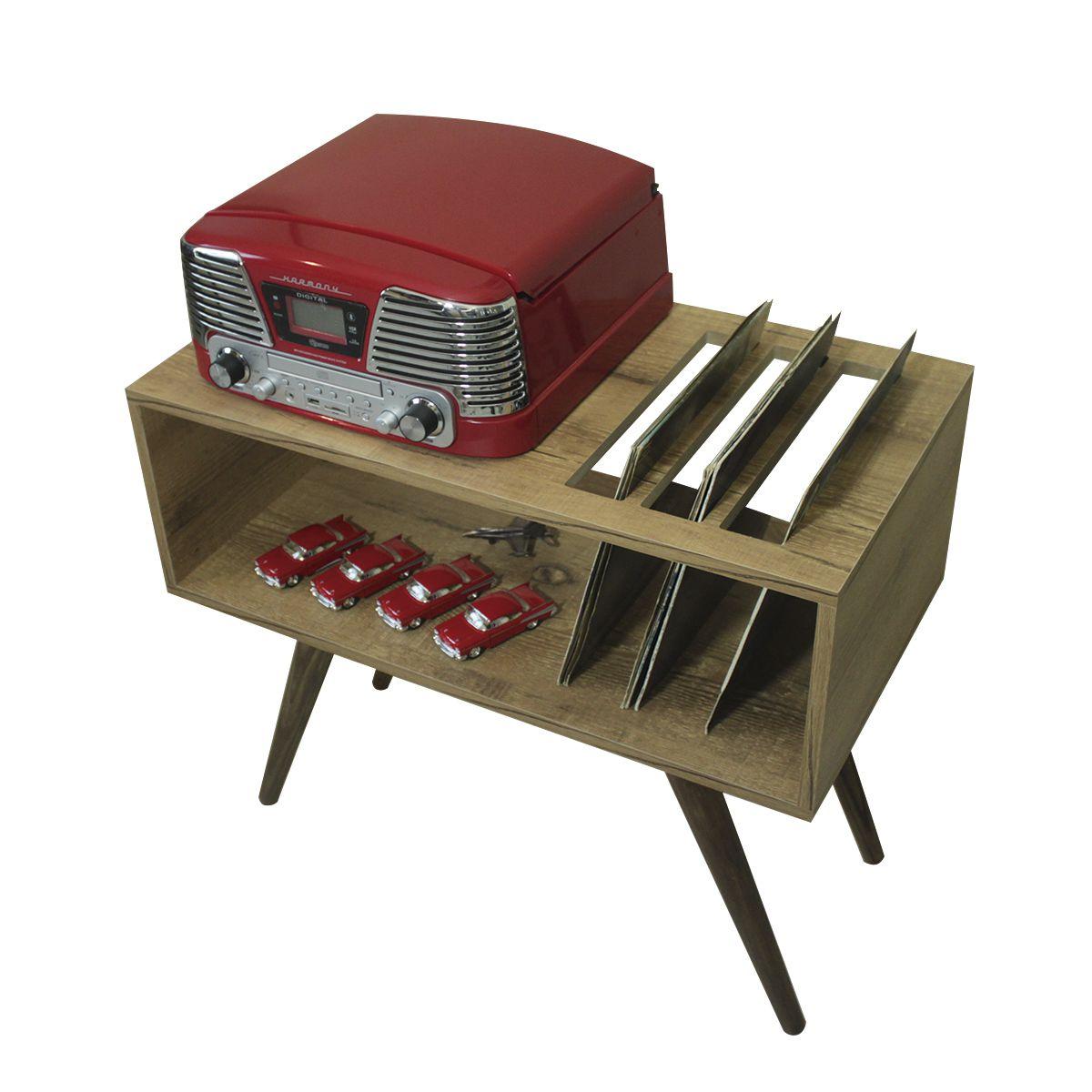Rack para Toca Discos c/ suporte para LP´s Antiqua Modern