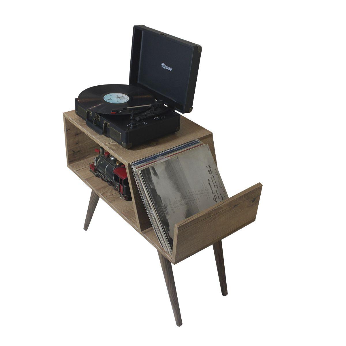 Rack para Toca Discos c/ suporte para LP´S Antiqua Old