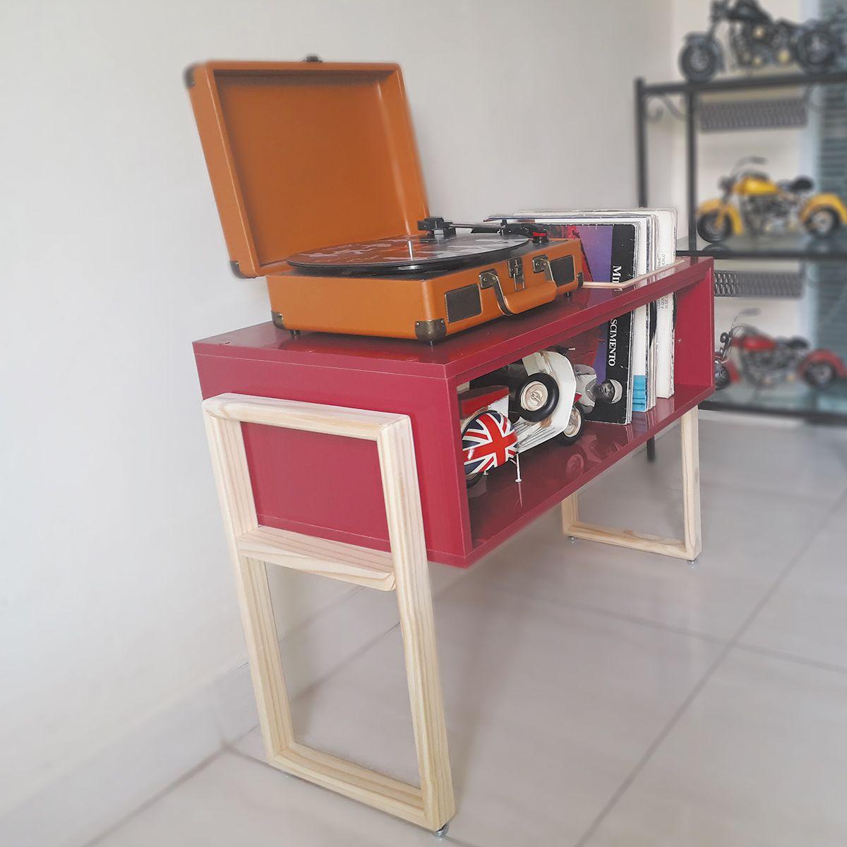 Rack para Toca Discos c/ suporte para LP´S Borgonha Modern