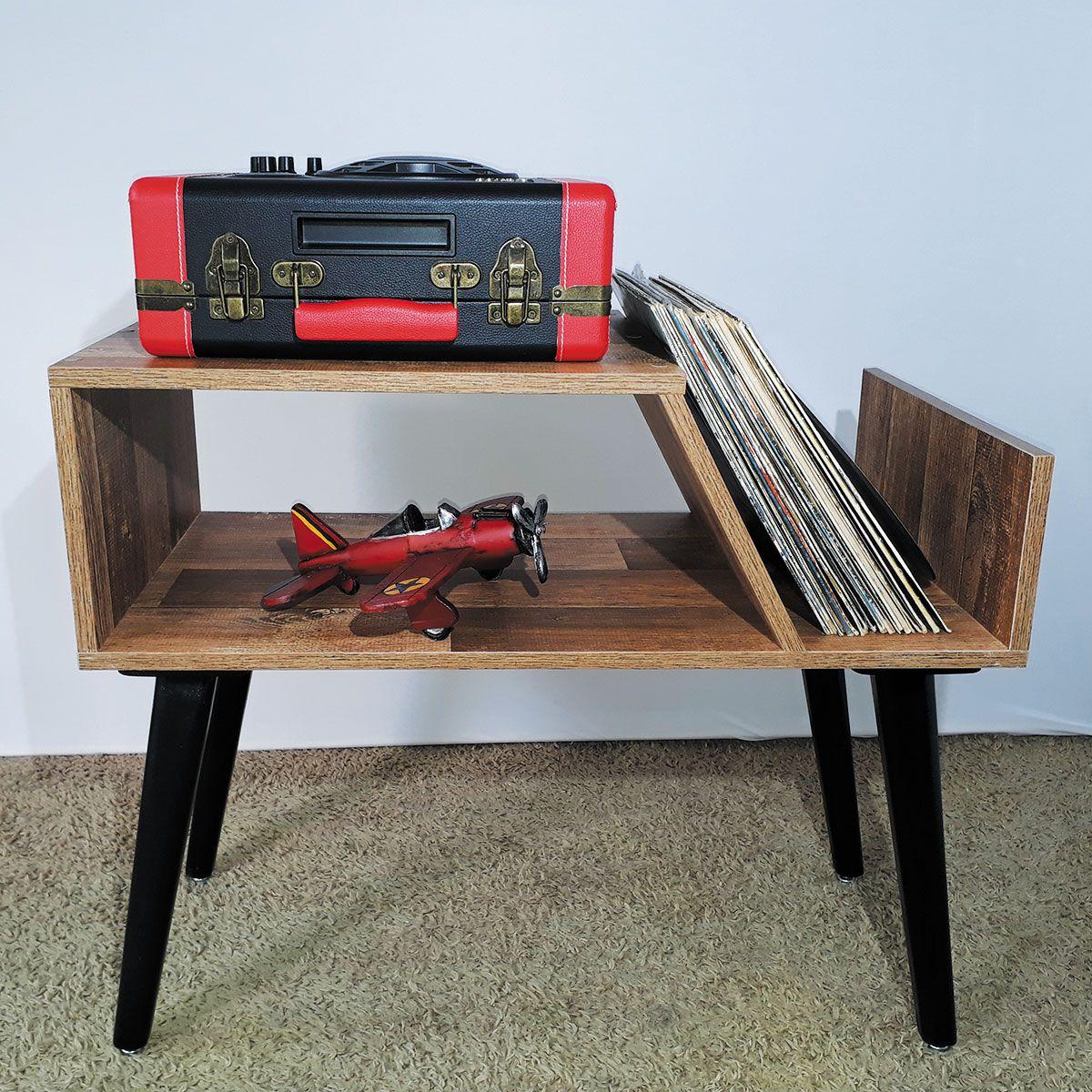 Rack para Toca Discos c/ suporte para LP´S Western Old