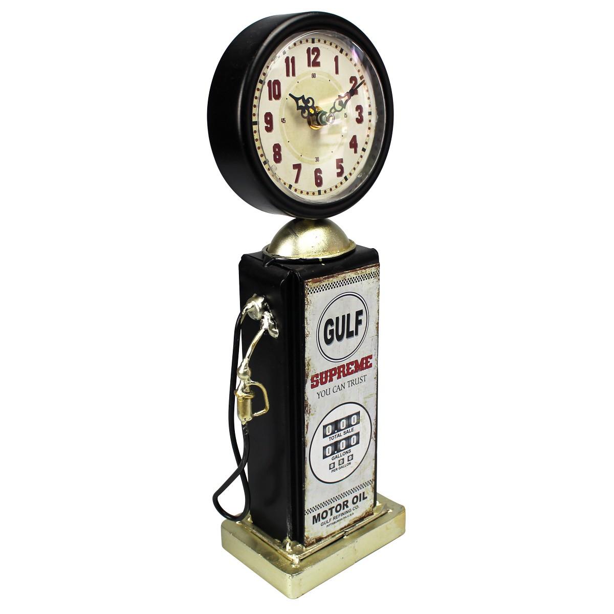 Relógio De Mesa Bomba De Gasolina Gulf Supreme Preto