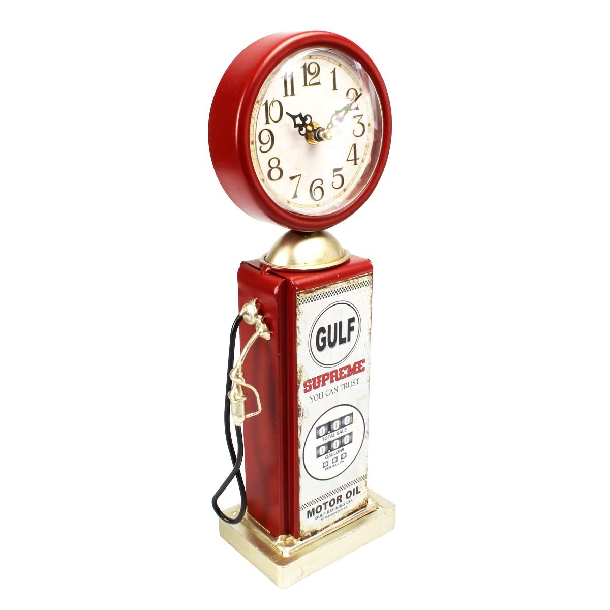 Relógio De Mesa Bomba De Gasolina Gulf Supreme Vermelho