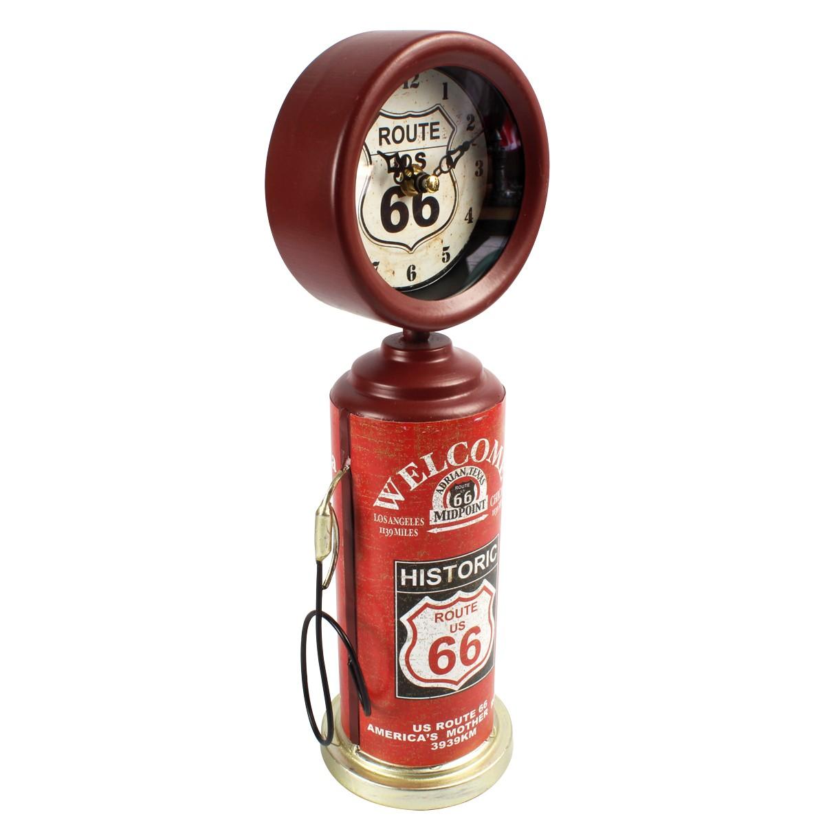 Relógio De Mesa Bomba De Gasolina Historic Route 66 Bordô