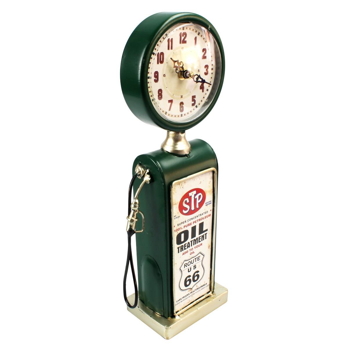 Relógio De Mesa Bomba De Gasolina Oil Treatment Route 66 Verde