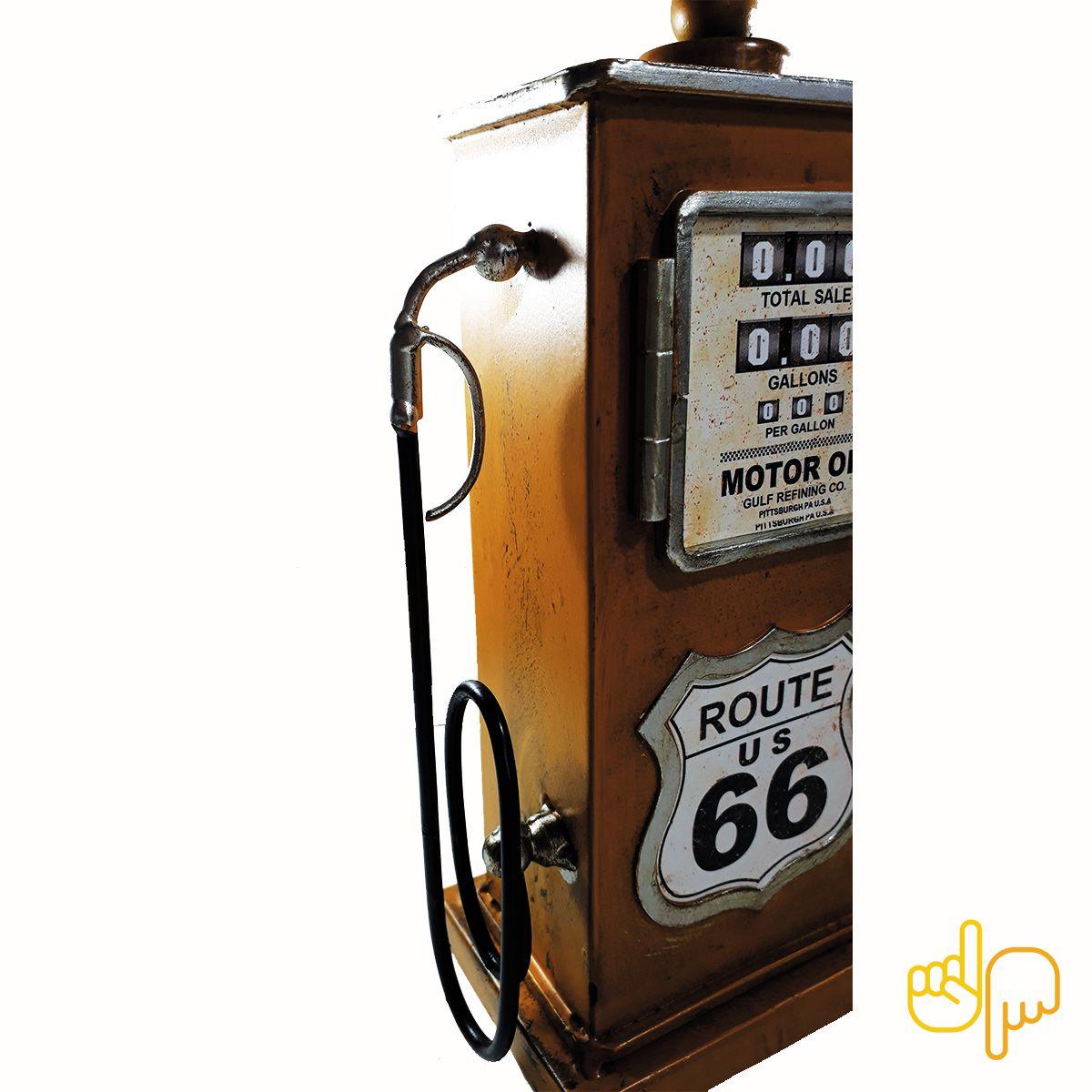 Relógio de Mesa Bomba De Gasolina Vintage Route 66 Texaco Amarelo