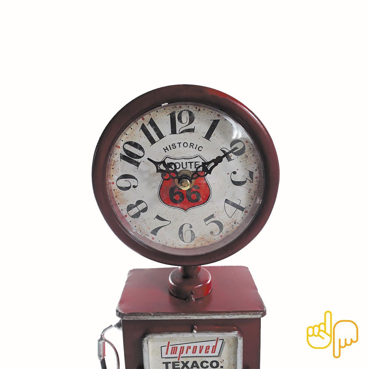 Relógio de Mesa Bomba De Gasolina Vintage Route 66 Texaco Red
