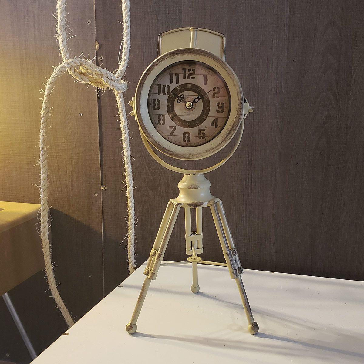 Relógio de Mesa Tripé Retrô Mod. Farol Ivore