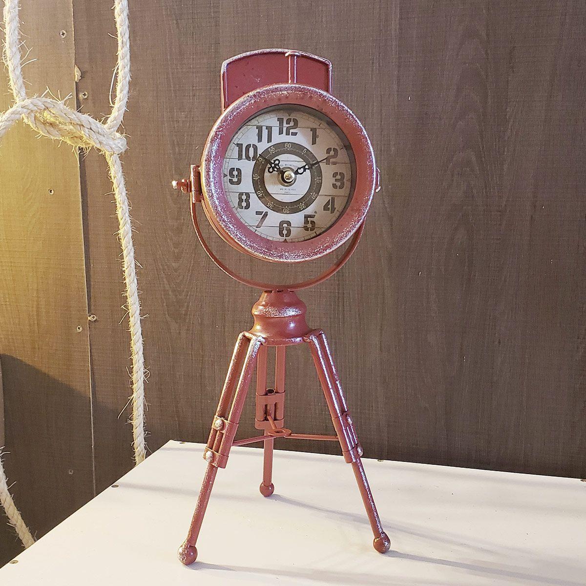 Relógio de Mesa Tripé Retrô Mod. Farol Vermelho Borgonha