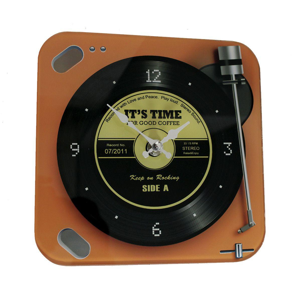 Relógio de Parede de Retrô Mod Vinil For Good Coffee - Orange 20x20cm