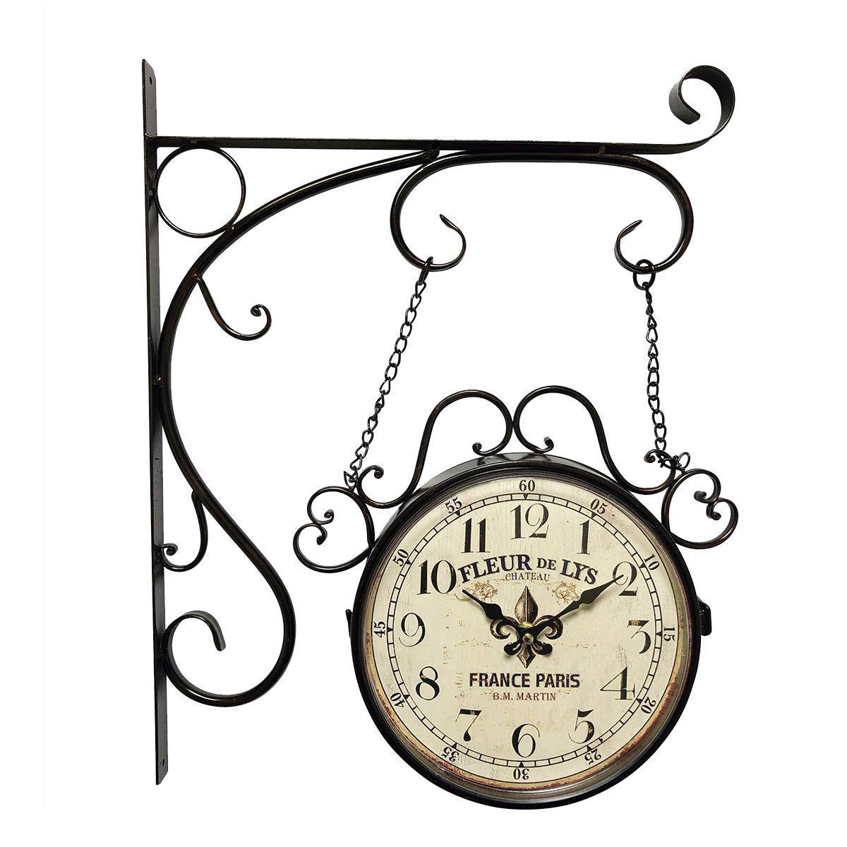 Relógio de Parede dupla face c/ corrente Fleur de Lys France