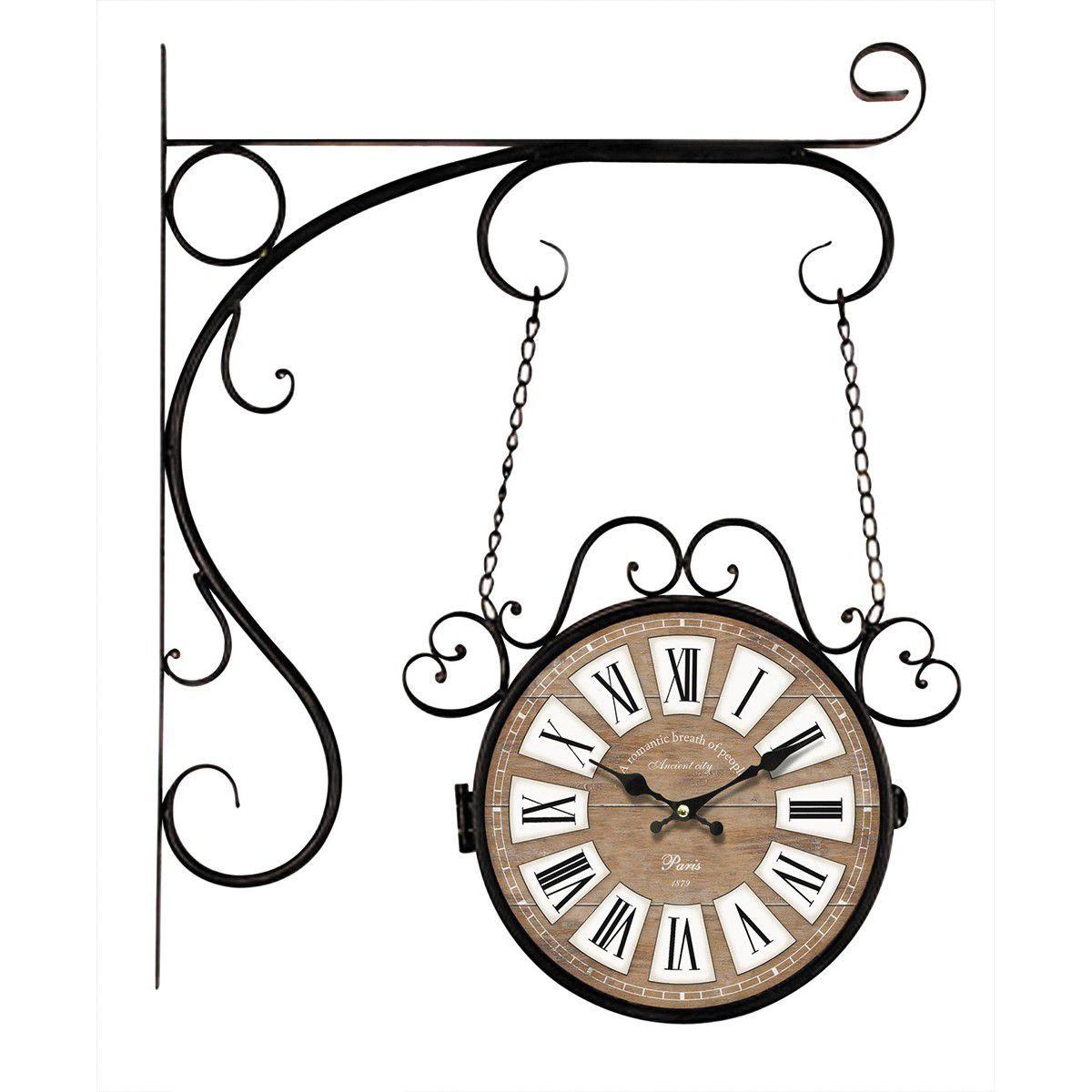 Relógio de parede dupla face c/ correntes Paris 1879