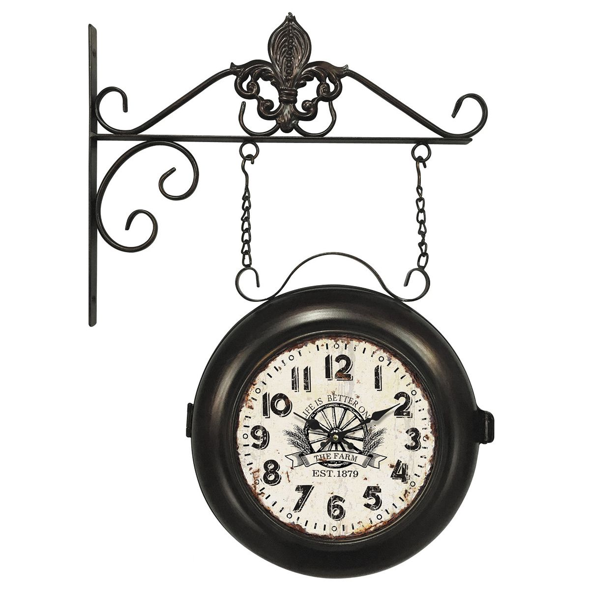 Relógio de parede dupla face c/ correntes The Farme Est.1879