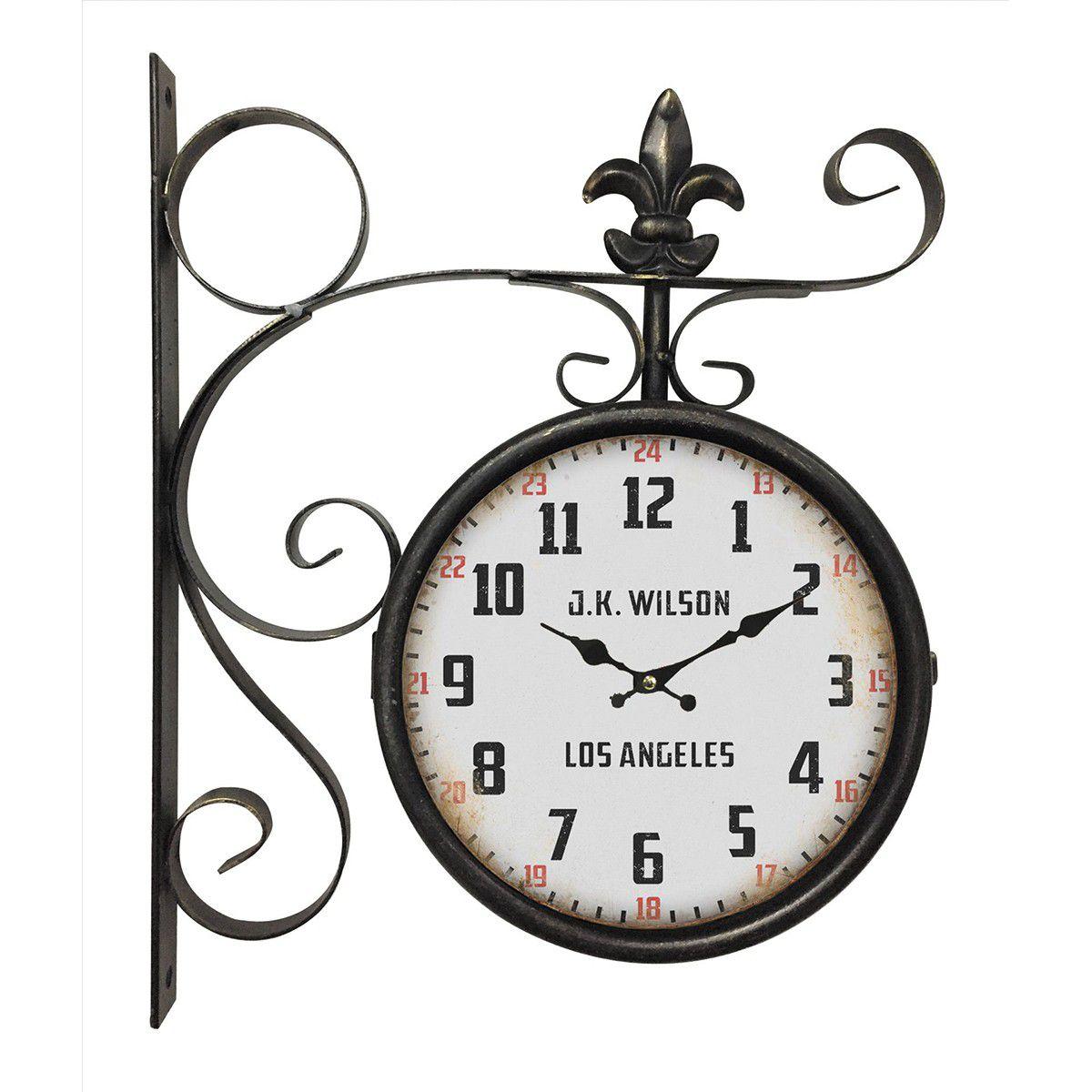 Relógio de parede dupla face J.K Wilson Los Angeles