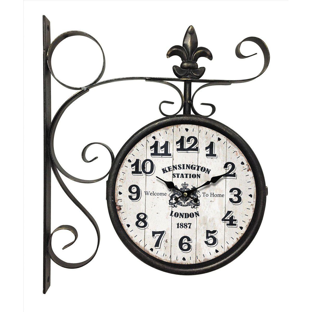 Relógio de parede dupla face Kensington London 1887