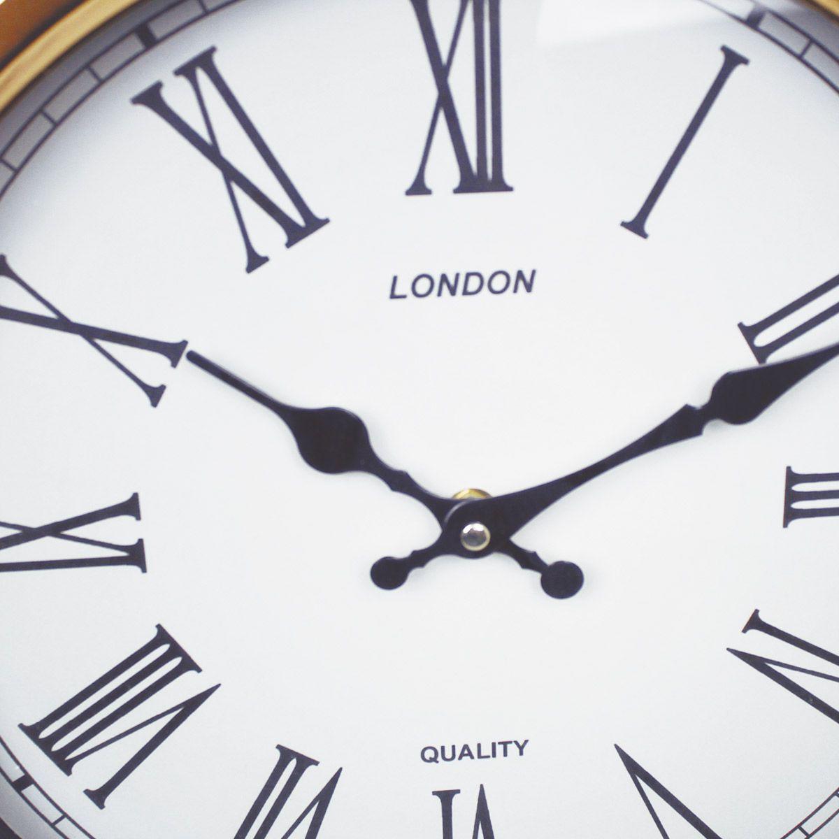 Relogio de Parede London Gold & Green Retro Premium Ø36cm