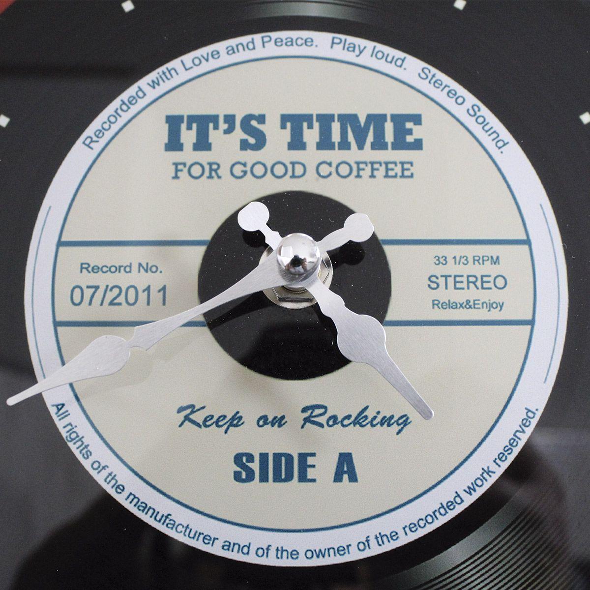 Relógio de Parede Retrô Mod LP Vinil Keep on Rocking - Red 20x20cm
