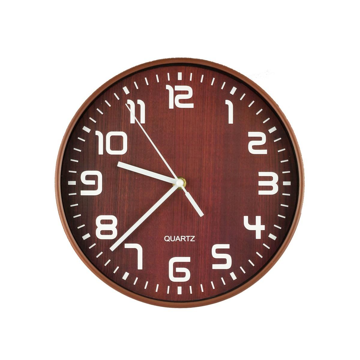 Relógio De Parede Wooden Finish Marrom 25cm Urban