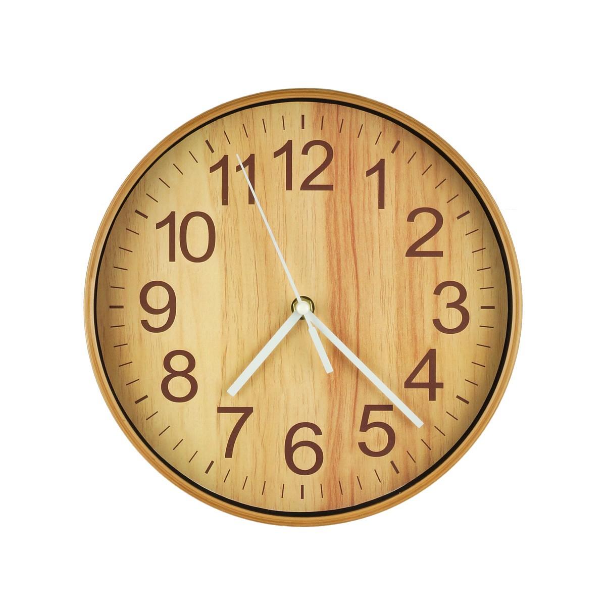 Relógio De Parede Wooden Finish Natural 25cm Urban