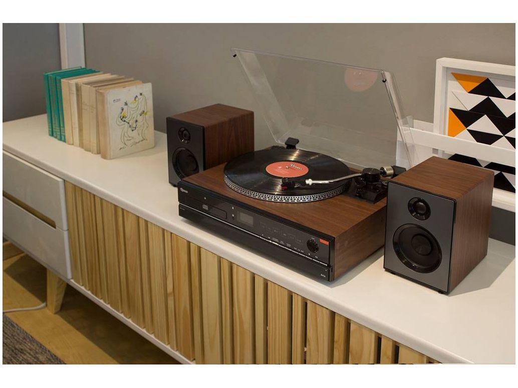 Sistema de Som HI-FI Raveo Aria c/ Toca-Discos, CD, FM, USB, SD, BT e NFC