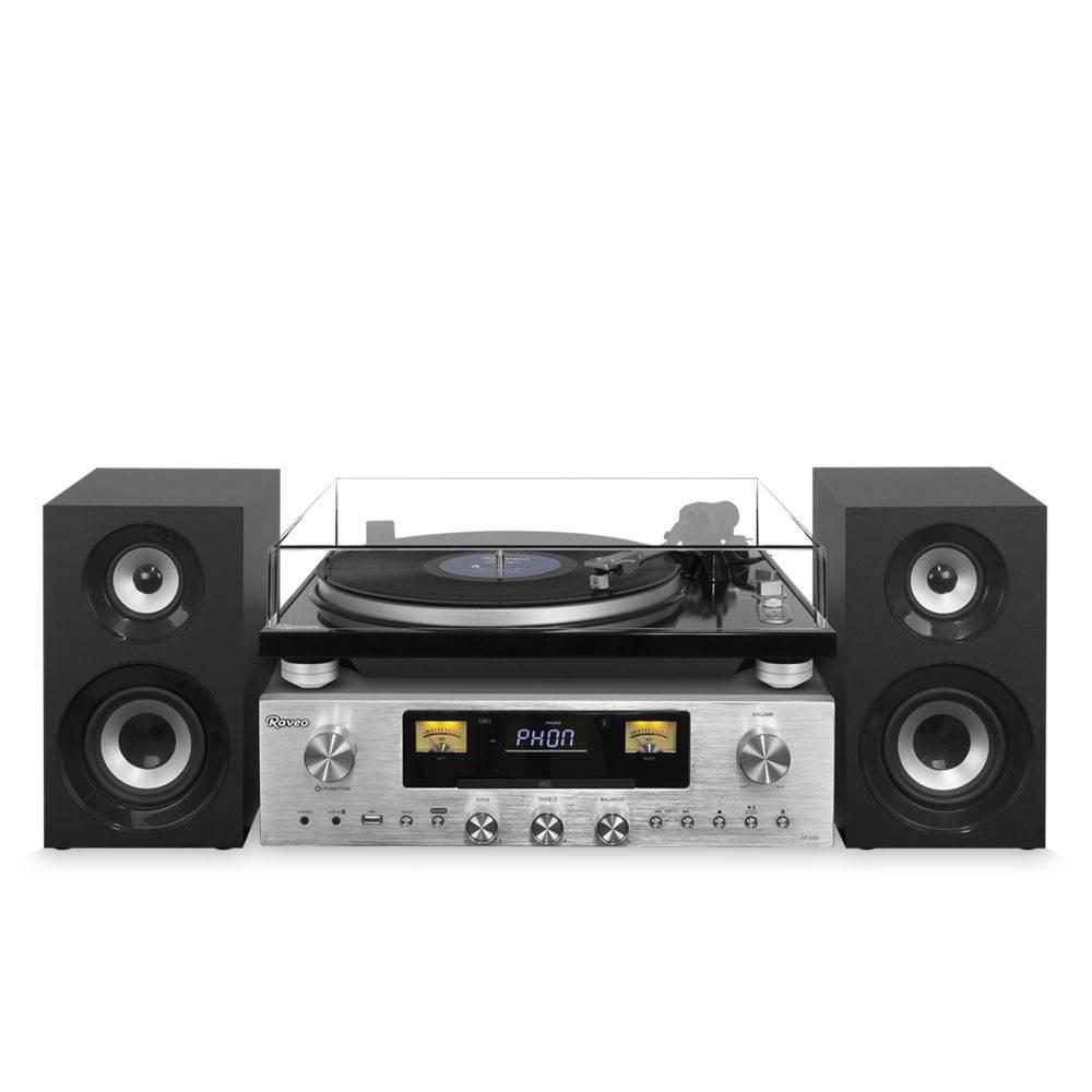 Sistema de Som hi-fi Raveo Concert One 80W, Toca-discos, CD, FM, BT, NFC