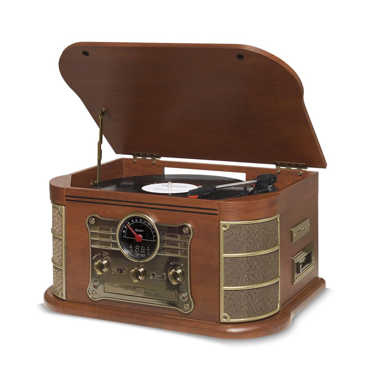 Vitrola Raveo Spazio c/ Toca-Discos, Fita Cassete, BT, CD, Rádio , USB/SD (Rec)