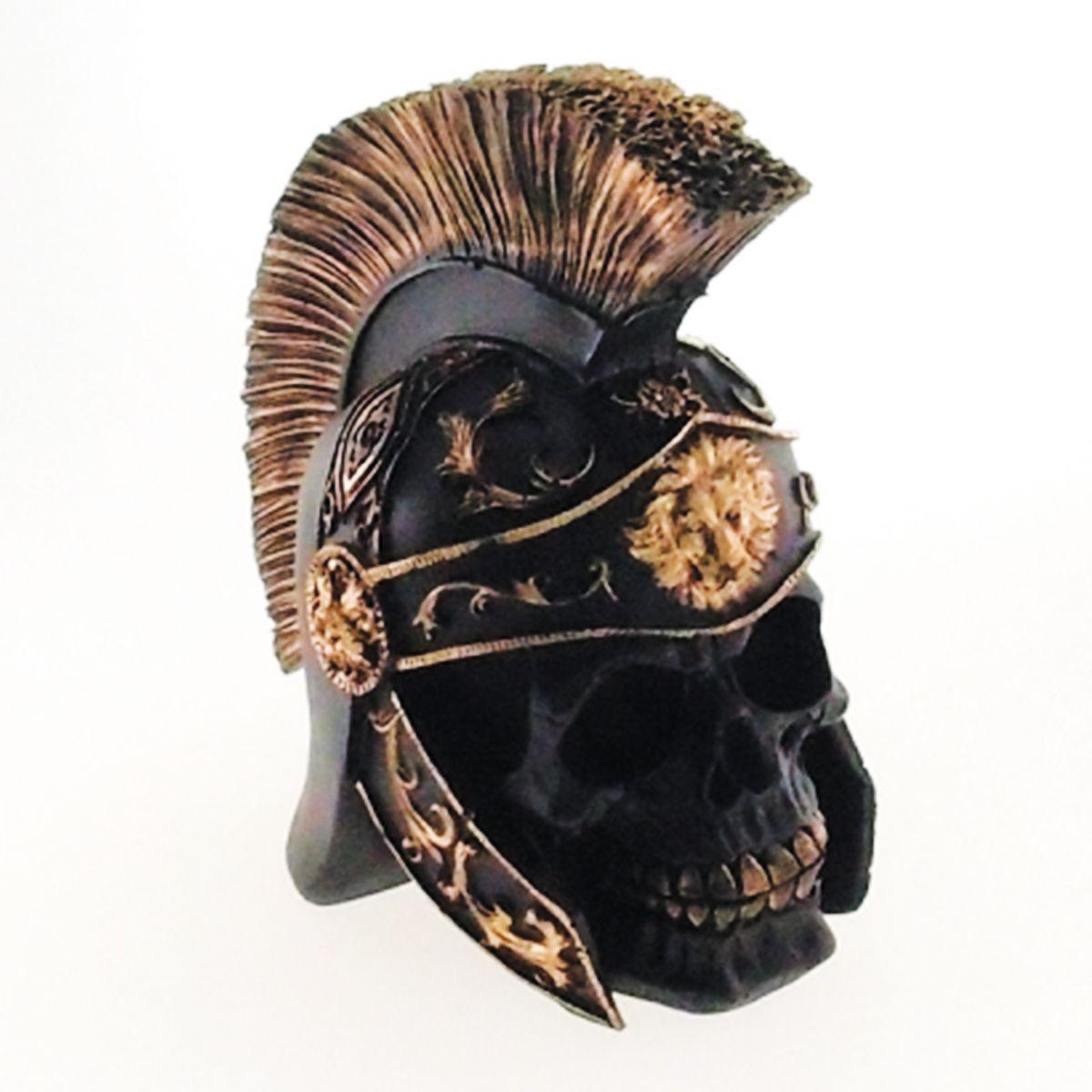 Skull Caveira Soldado Romano Dourado