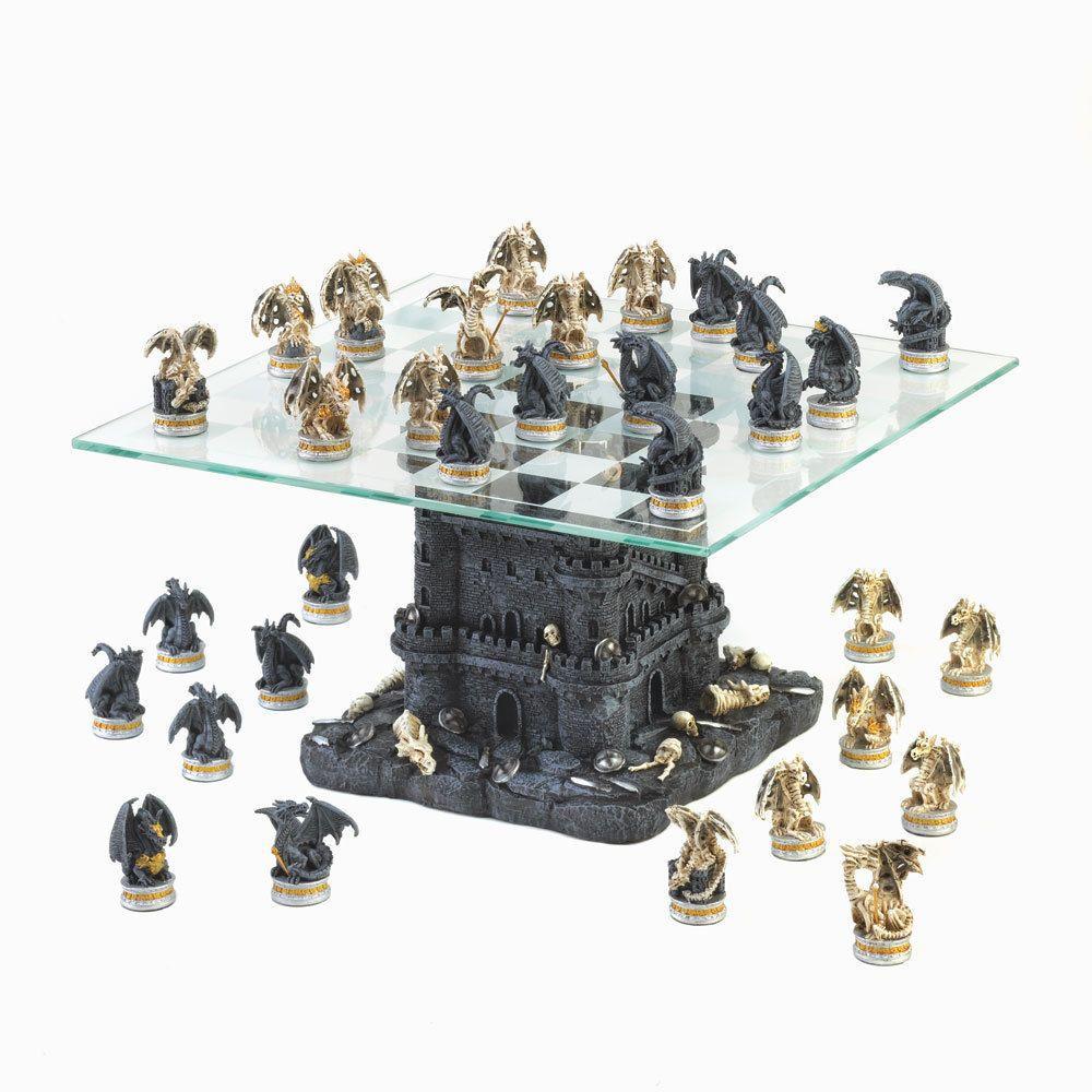 Tabuleiro de xadrez Luxo Batalha de Dragões 32 peças.