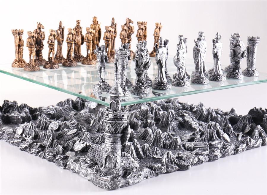 Tabuleiro de xadrez Luxo Cavaleiros Medievais 3D 32 peças.