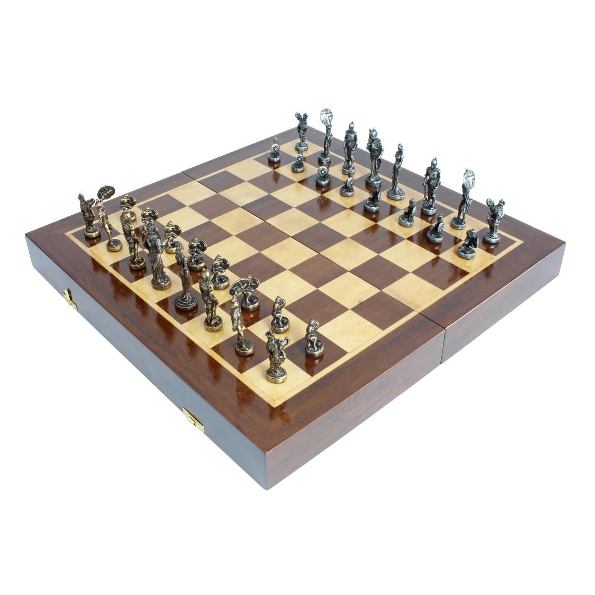 Tabuleiro de Xadrez Luxo Gladiadores 32 peças De Ferro