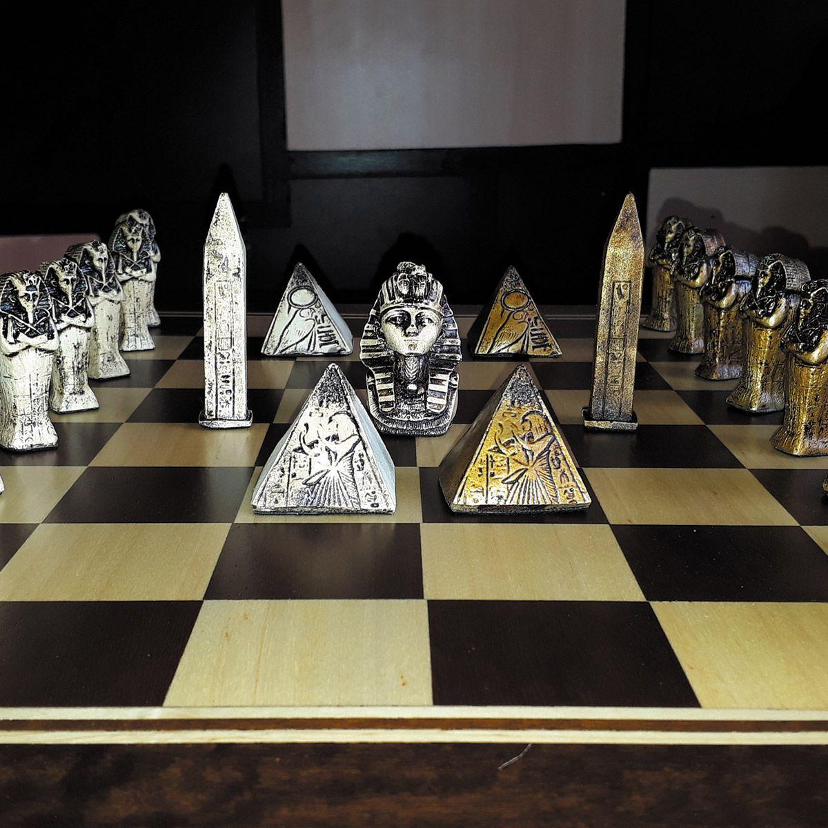 Tabuleiro de Xadrez Luxo Império Egípcio 32 Peças