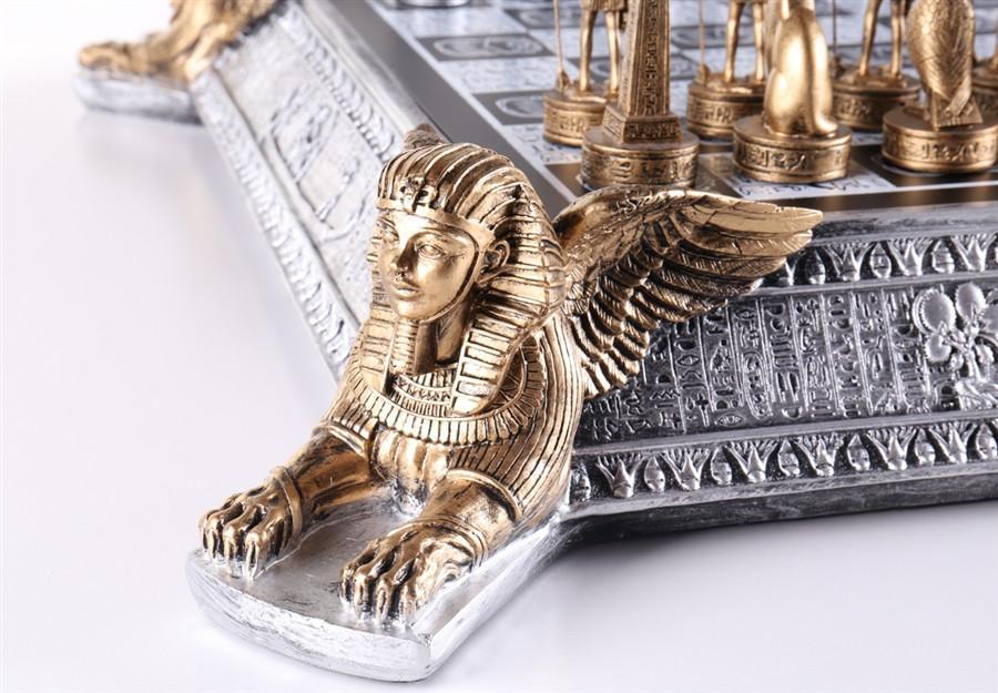 Tabuleiro de Xadrez Luxo Reis do Egíto 32 Peças 55x55x10cm
