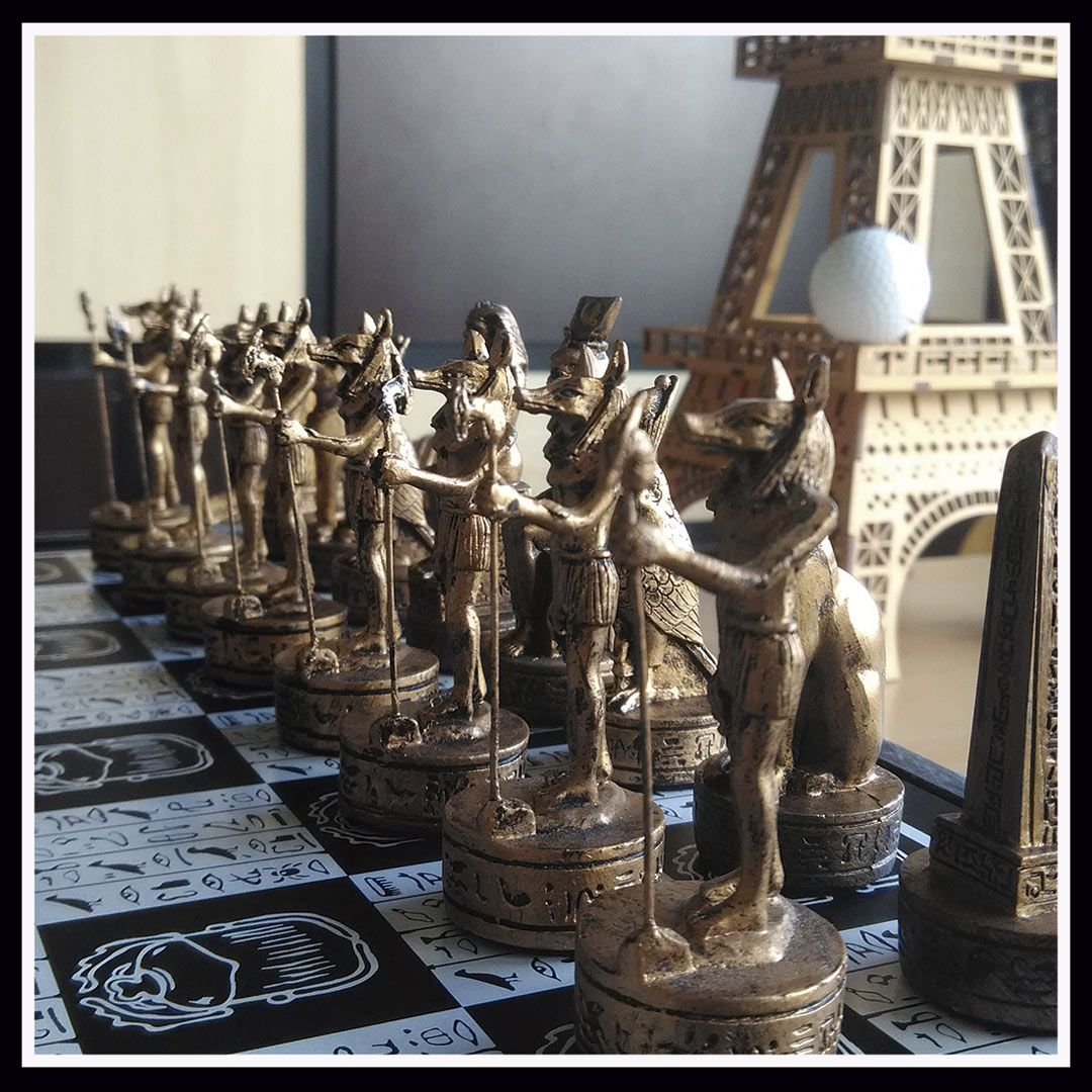 Tabuleiro de Xadrez Luxo Reis do Egíto 32 Peças 55x55x10cm 2