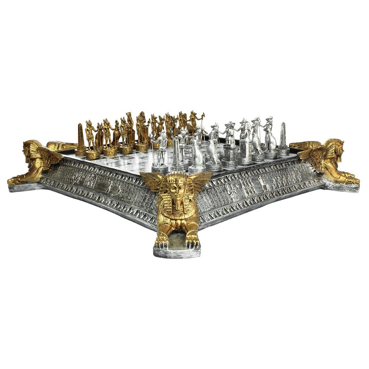 Tabuleiro de Xadrez Luxo Reis do Egíto 32 Peças - Oficial