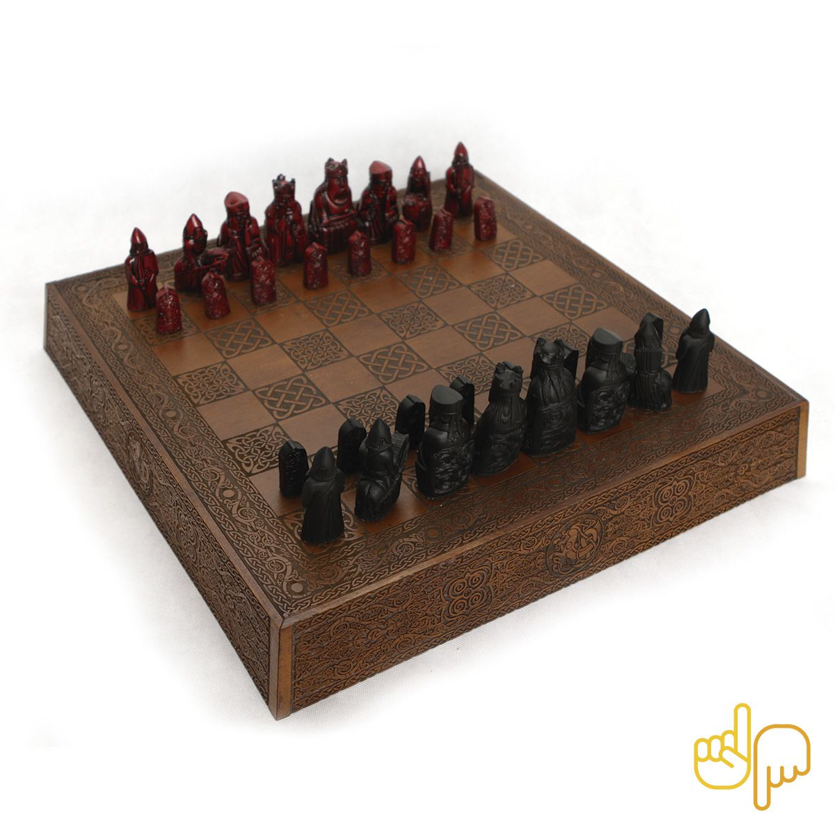 Tabuleiro de Xadrez Luxo Versão Exclusiva Lewis 32 peças