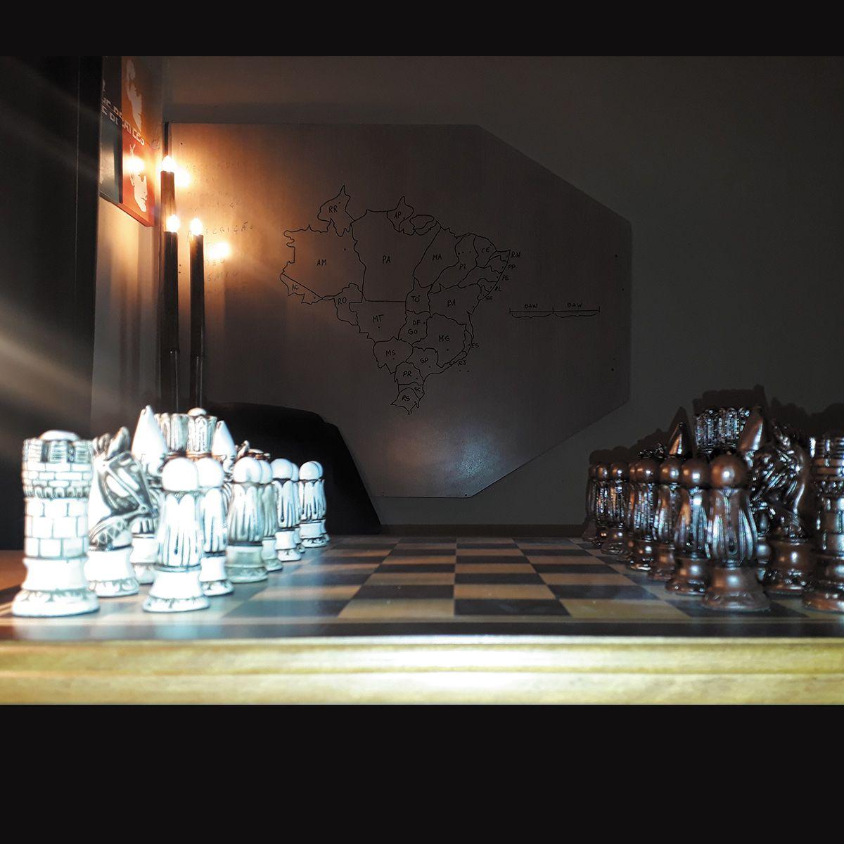Tabuleiro de Xadrez Luxo Victoriano 32 Peças Tab: 50x50 cm