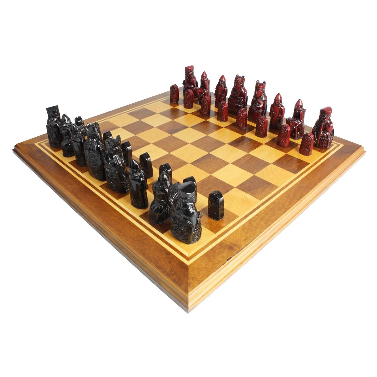 Tabuleiro de xadrez Marchetado Luxo Exclusivo Lewis 32 peças